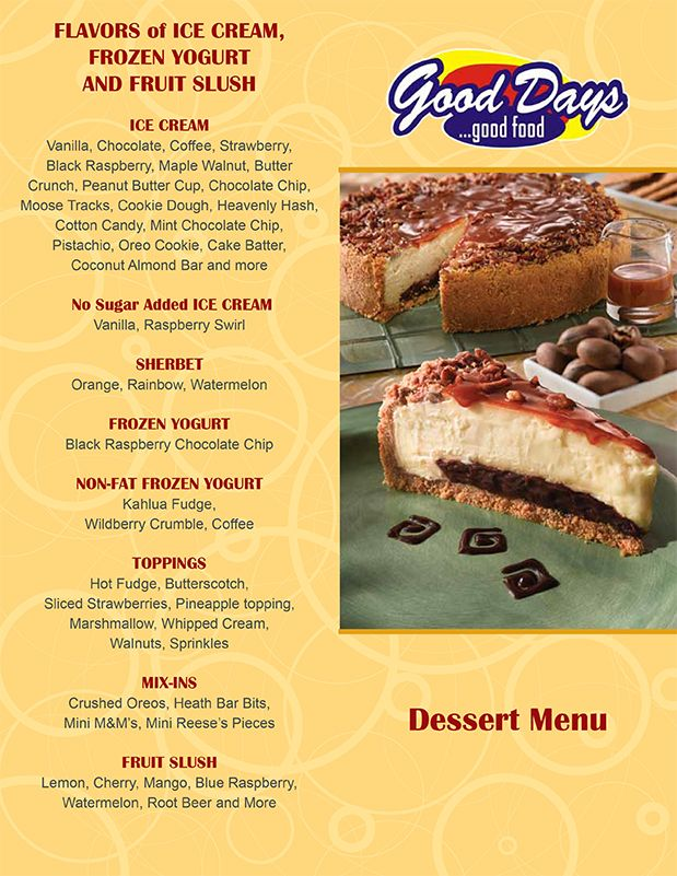 Good Days Restaurant Dessert Menu Page 1