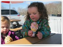 little girl enjoying ice cream at Good Days Restaurant